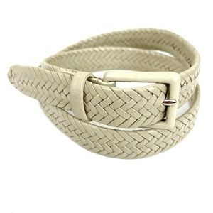 Talbots Taupe Beige Braided Leather Belt
